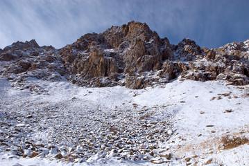 Winter rocks in high mountain