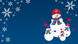 Snowman family background with snowflakes