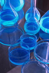 test tubes blue light