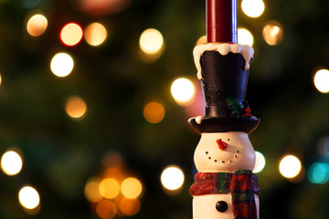 A Snowman Candle Holder