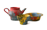 Coloured  teapot, cup and plate poster