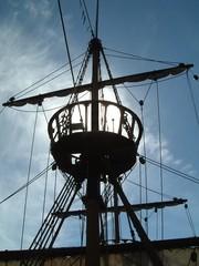 Silhouette of ship rigging