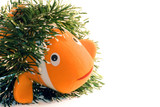 shy fish with  new Year garland poster