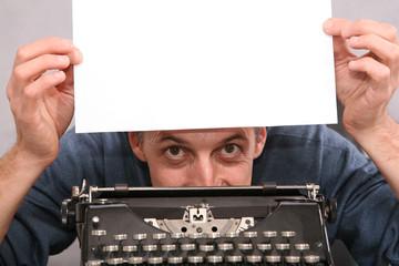 man after a typewriter