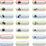 Glossy buttons with business icons poster