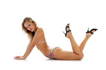 enigmatic blonde in bikini