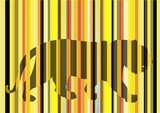 tiger silhouette behind striped screen