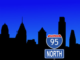 Philadelphia with interstate sign
