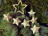 silvery stars on Christmas tree poster
