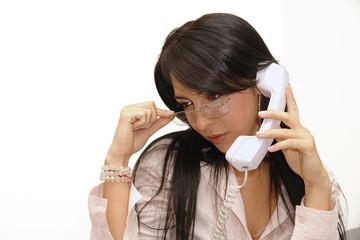 Secretaria sexy con con telefono