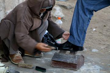 Schuhputzer in Marokko