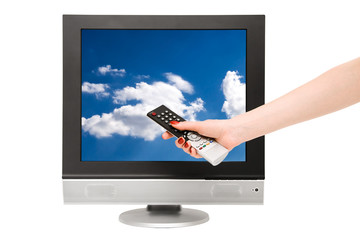Woman hand and tv screen with blue sky