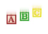 Falling ABC alphabet blocks poster