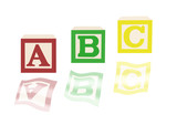 ABC alphabet blocks and images poster
