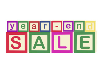 """year-end SALE"" aplhabet blocks"
