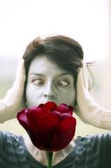 squint woman flower