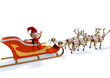 red joking elf dwarf seated on xmas sleigh with reindeers