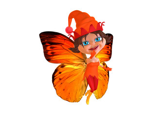 Magical orange elf flying with butterflies wings