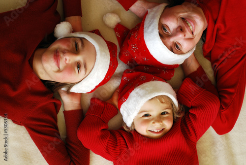Happy family at Christmas time