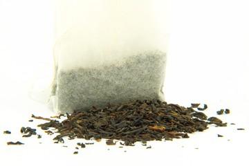 Tea bag with chopped leaves
