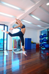 girl jumping in fitness studio
