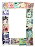 Exotic Banknotes Frame Isolated on White poster