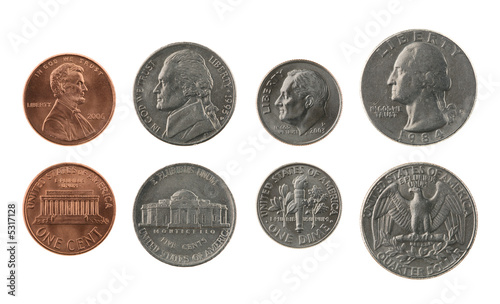 US Coins Collection Isolated on White