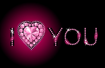 I LOVE YOU / Diamond heart / vector background