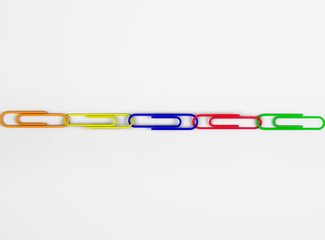 Multicolored Paper Clips Linked Together