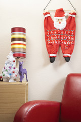Santa clause calendar hanging on wall