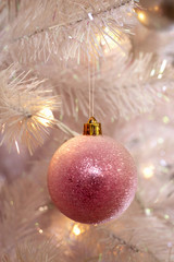 Christmas bauble hanging on tree, close-up