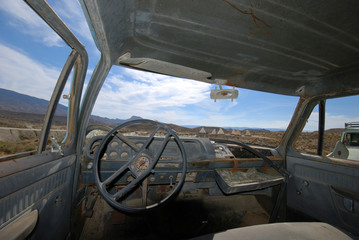 Interior of an abandoned American pick-up truck