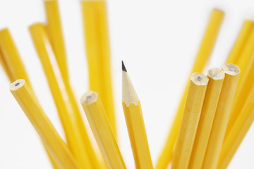 Pencils in holder, close up of pencils