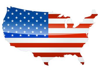 Carte des USA (drapeau métal)