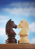 Chess pieces, two knights face to face