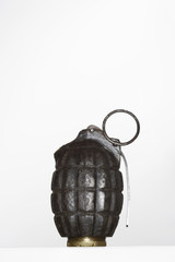 Hand grenade in studio, close up