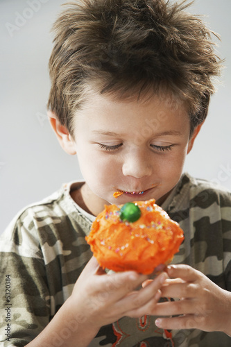 Little Boy Eating a Cupcake