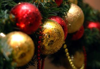 Christmas balls on the fur-trees branch