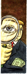 Businessman big eye through magnifying glass