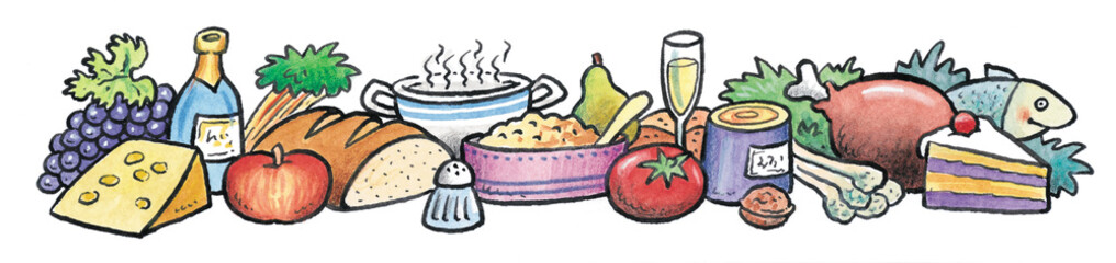 Different types of food, fruits, vegetables and sweets