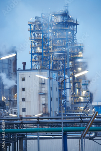 Oil refinery with lights
