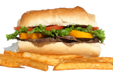 Roast Beef Sandwich and French Fries