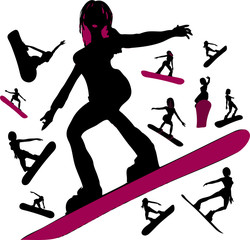 Girls on a Snowboard Silhouettes
