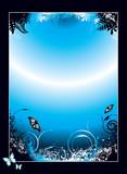 black gradient floral poster