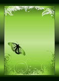 green gradient floral poster