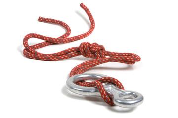 Descendeur et corde d'escalade