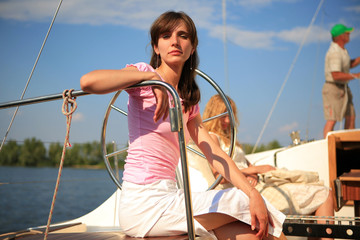 The girl on a yacht
