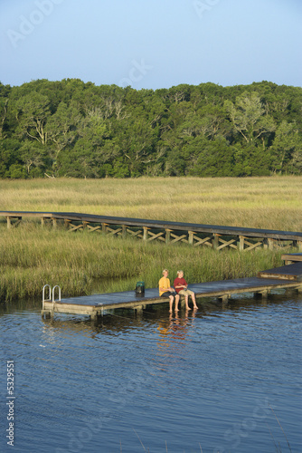 Boys fishing on dock.