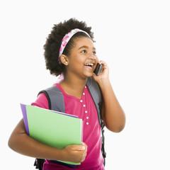 Schoolgirl with phone.