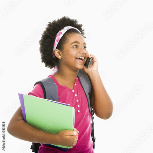Schoolgirl with phone.
